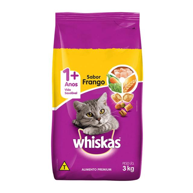 Ração Whiskas Frango e Leite para Gatos Adultos- 3 Kg