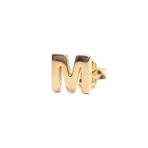 Brinco Letra Unitário com Banho em Ouro