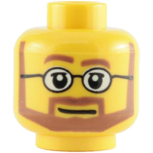 Novo Lego Amarela Dupla Face minifigura Macho Cabeça Com Barba peça de restolho