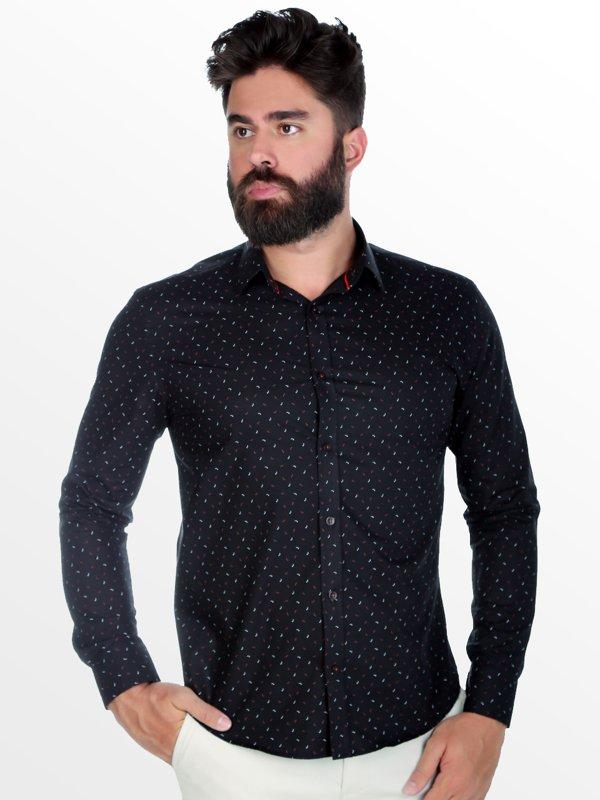 Camisa Micro Estampada Thones Preta