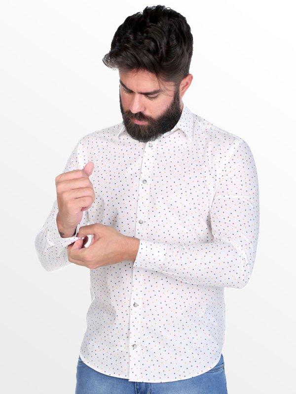 Camisa Micro Estampada Thones Branca