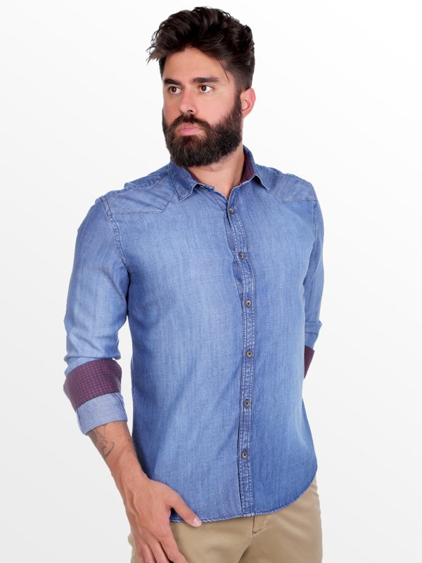 Camisa Jeans Thones Azul