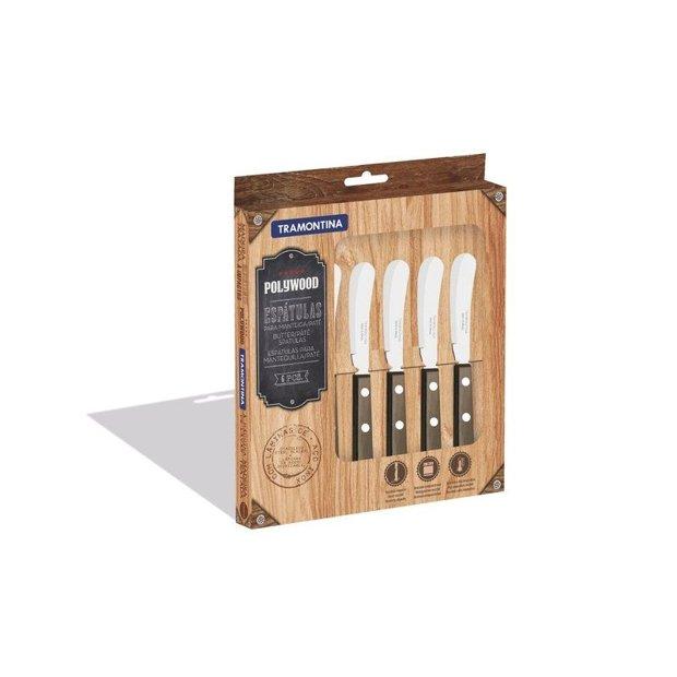 Conjunto de Espátulas Para Manteiga Polywood Castanho 6 Peças Com Lâminas em Aço Inox e ca Tramontina