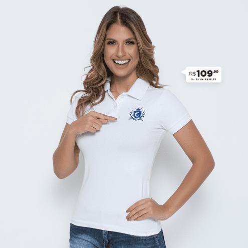 CAMISA POLO FEMININA CAPRICHOSO BRANCA