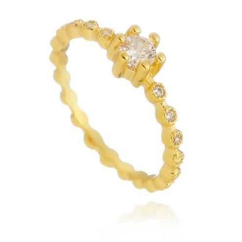 Anel Aro Decorado com Zircônias Semijoias Antialérgicas Banhados a Ouro 22k