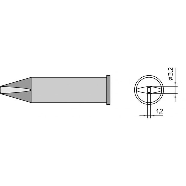 XHTC - Ponta Solda Fenda 3,2mm p/ Ferro WP/WXP200 Weller