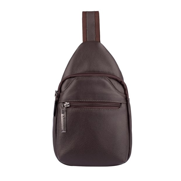 Mini mochila transversal de couro Jeff