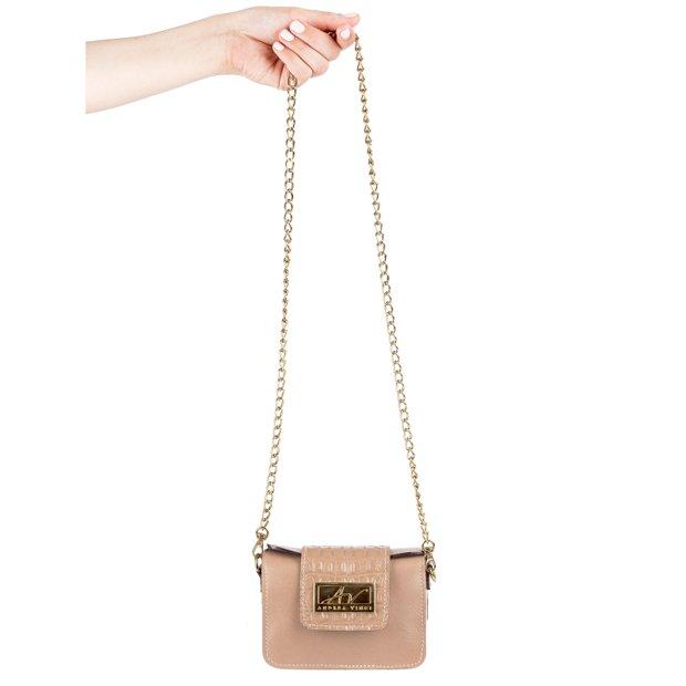 Mini bolsa de festa Katy em couro legítimo