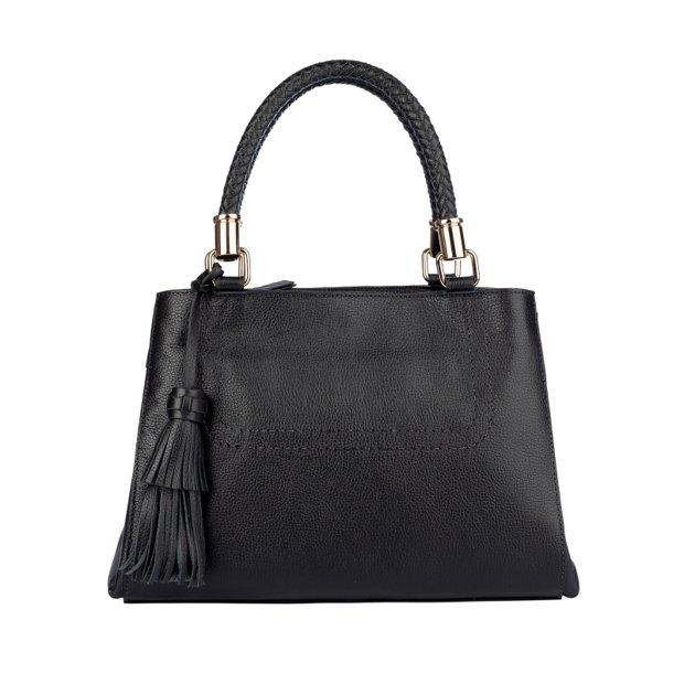 Bolsa de couro com alça tressê Mirian