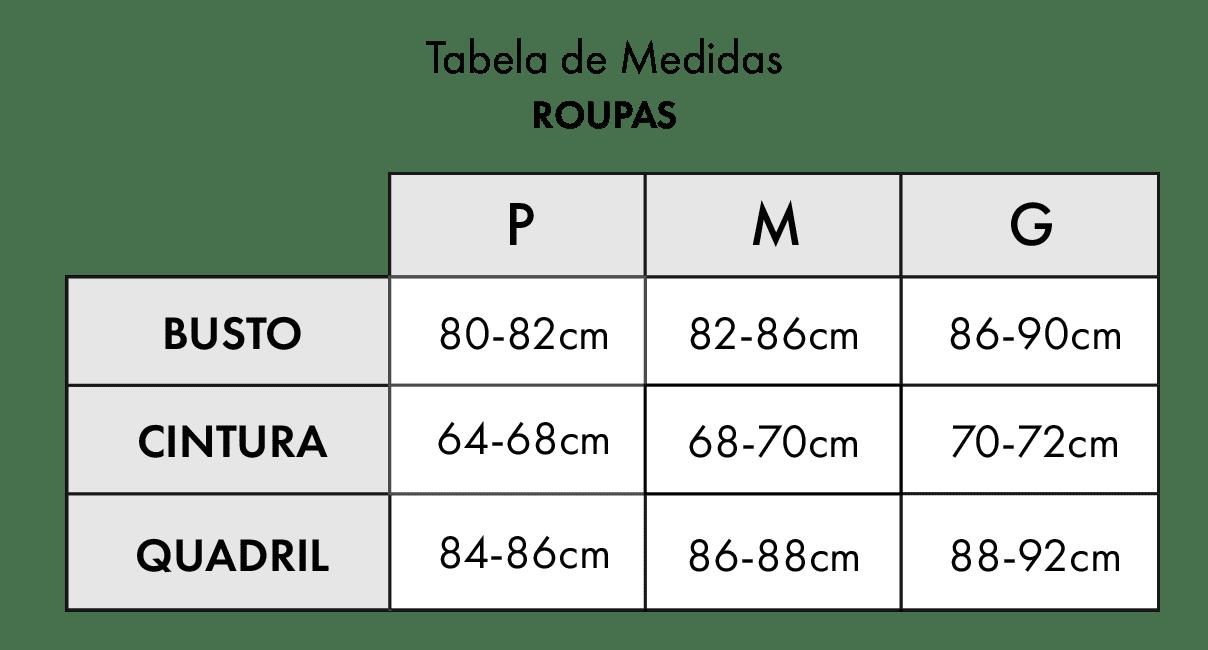 Tabela de Medidas Roupas