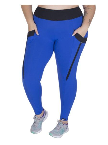Calça Kelly Fitness Plus Size Cigarrete com Listra Bic