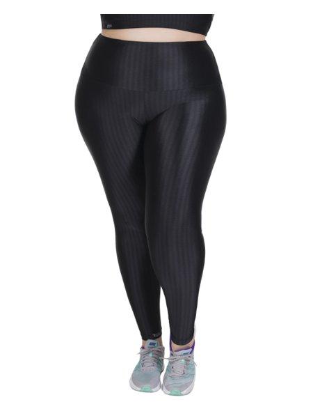Calça Legging Fitness Plus Size Cigarrete em Ikat Preto