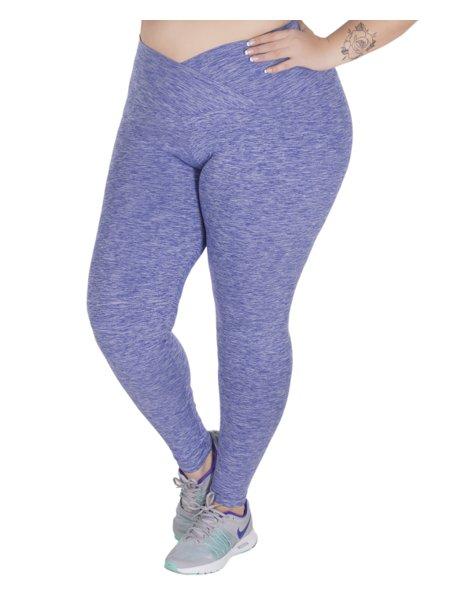 Calça Fitnes Plus Size Lia Cós Transpassado Em New Melange Roxa