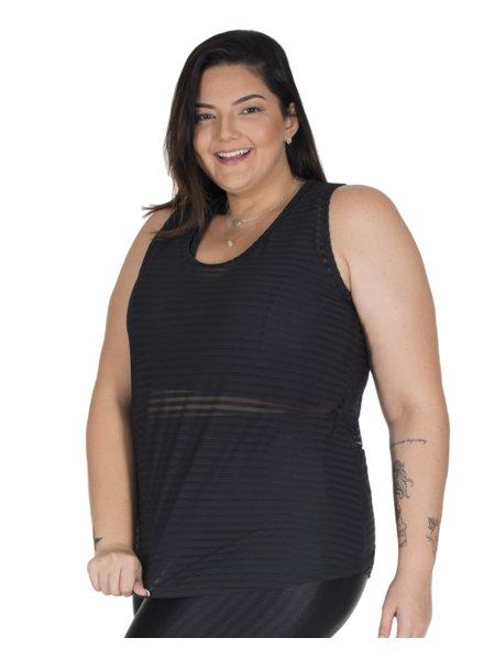 Regata Jad Fitness Plus Size em Tule Listrado Preto