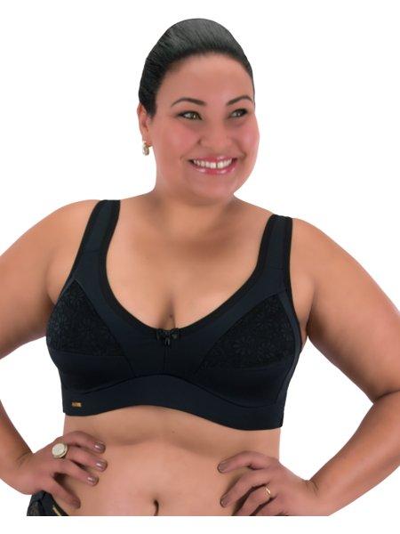 Sutiã Suzy Plus Size em Microfibra e Renda Preto
