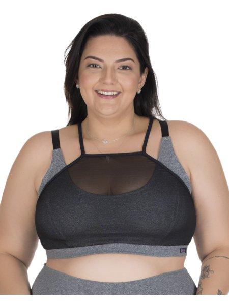 Top Fitness Plus Size com Tule Dani Preto com Cinza