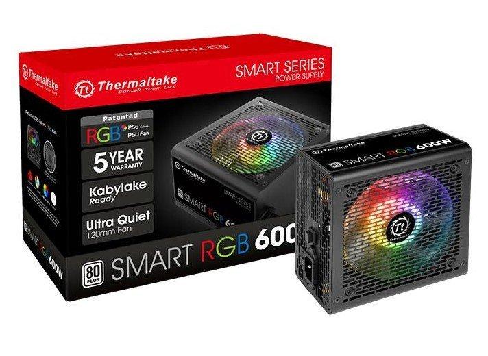 Fonte 600w Tt Smart Rgb 80+ Fan PS-SPR-0600NHFAWB-1 Hub/Sleeved Cable