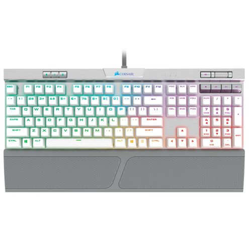 Teclado Mecânico Gamer Corsair K70 RGB MK.2 SE, RGB, Switch MX Speed, US, Branco - CH-9109114-NA