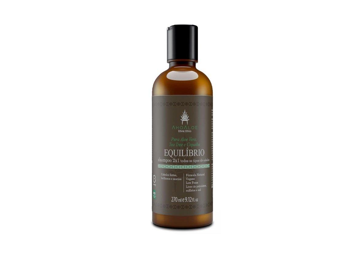 Shampoo 2 em 1 Equilíbrio Vegano Aloe Vera, Tea Tree e Copaíba AhoAloe 270ml