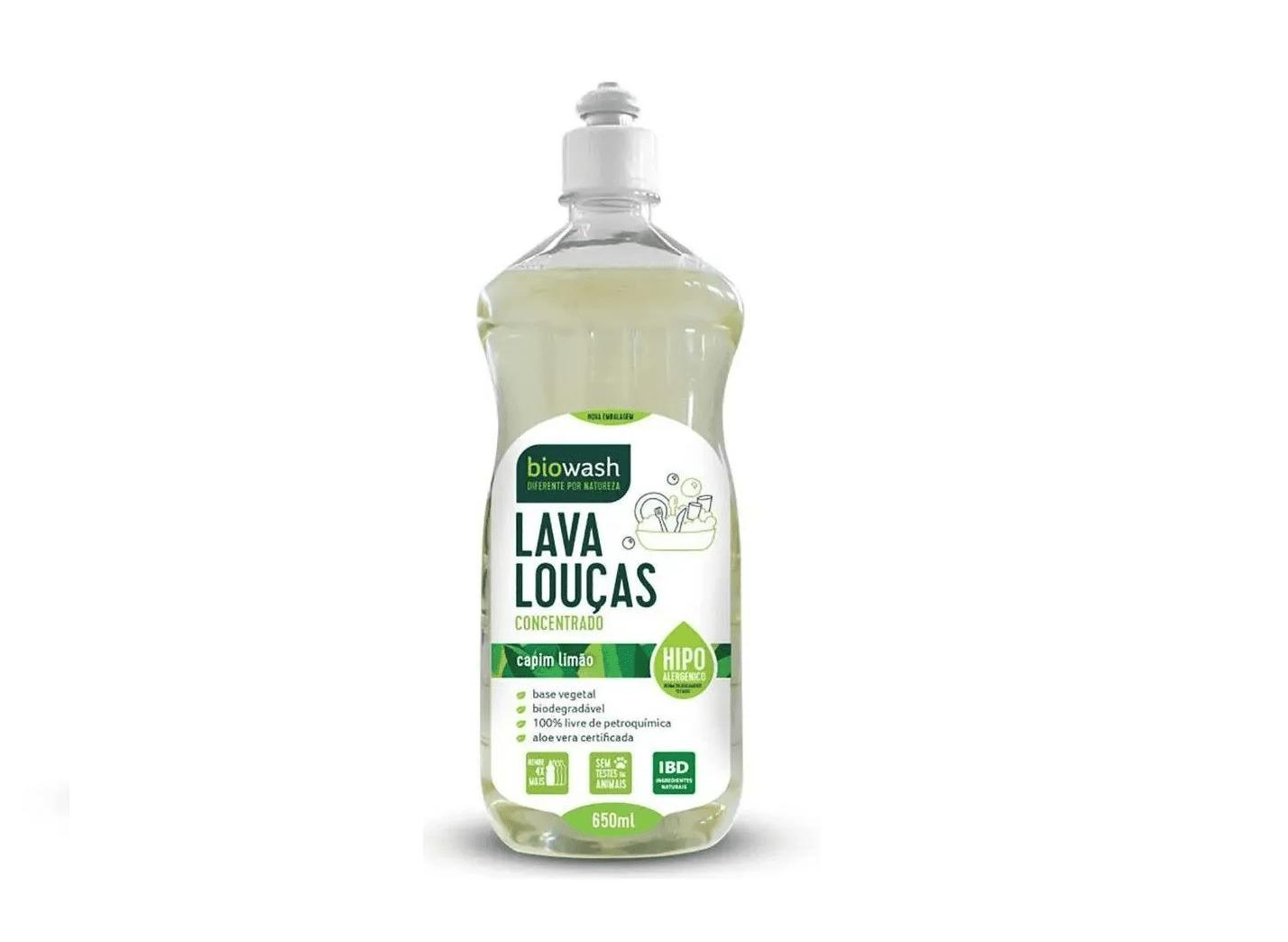 Lava Louças Capim Limão e Aloe Vera Biowash 650ml 100% Natural (Rende 4 Vezes Mais)