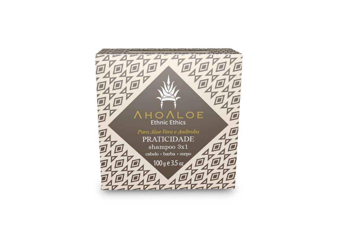 Shampoo Sólido 3x1 Praticidade Vegano Aloe Vera e Andiroba AhoAloe 100g